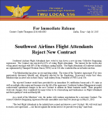 July 24, 2015 – Southwest Airlines Flight Attendants Reject New Contract